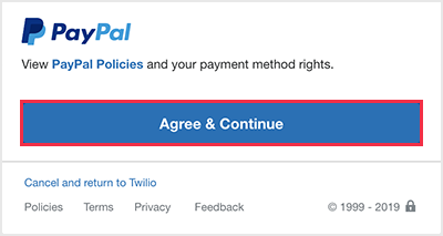 Login to PayPal in the new browser window, and then scroll to and click Agree & continue.